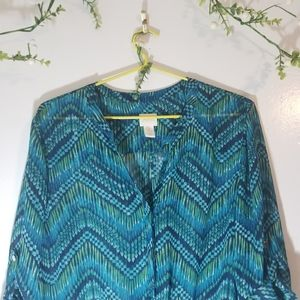 Chico's sheer  blouse with tie up knot